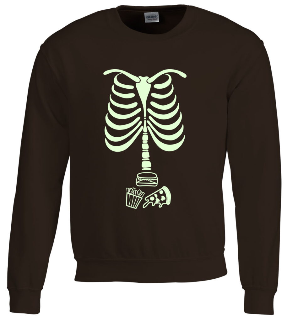 Skelet food Glow in the Dark sweater - originele Halloween outfit